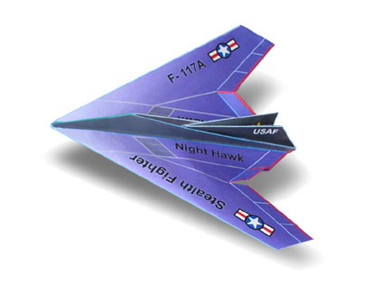 Flyable origami f-117 nighthawk (updated version) and flight by.