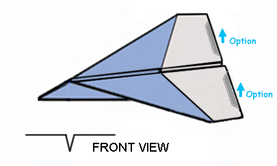form 3 dimensional shape as shown in figure the basic dart is complete bend up the tailing edge of the wings for lift if it has a tendency to nose dive